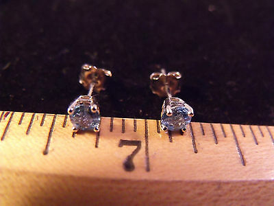 Estate 14K White Gold Clyde Duneier CID Topaz Stud Earrings with matching backs