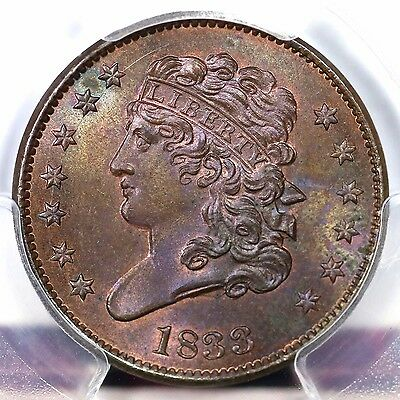 1833 C-1 PCGS MS 64 BN Classic Head Half Cent Coin 1/2c