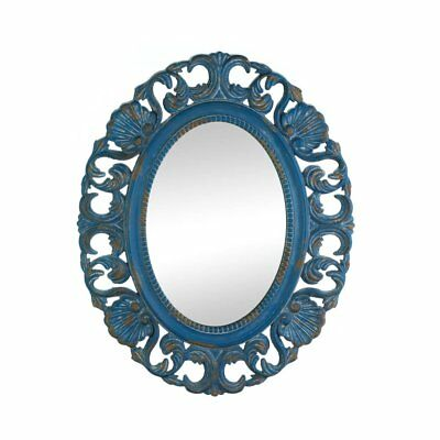 Wall Mirrors For Bathroom, Blue Oval Retro Wall Mirror Art Antique Wood Frame