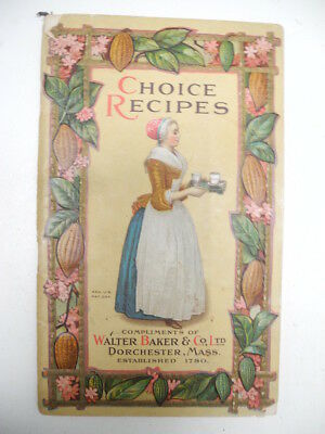 Antique 1913 Baker Choice Recipes Chocolate Cocoa Candy Book Booklet Dorchester