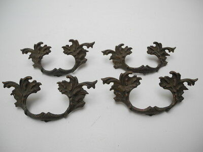 "Set of 4 Antique Solid Brass Ornate 4.75"" Cabinet Drawer / Door Pulls 3 inch c/l"
