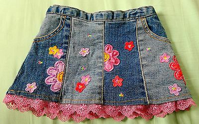 Flapdoodles 12 months girl's stretch flower jean skirt with pink lace newborn