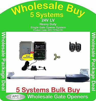 Bulk Buy of 5 x 24V Low Voltage Heavy Duty Single Linear Gate Automation Systems