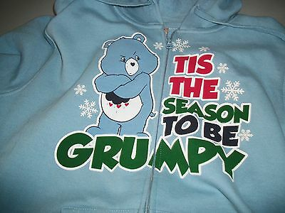 Care Bear Jacket, Long Sleeve hooded, with zipper, Blue, with Grumpy