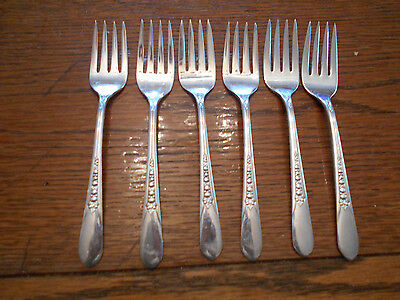 6 Rogers 1941 Priscilla or Lady Ann Salad or Dessert Forks IS Silverplate