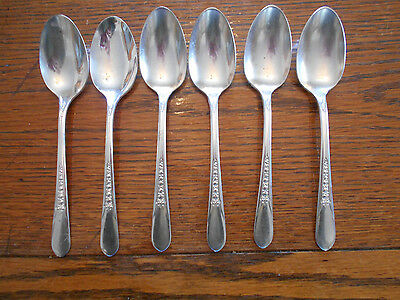 6 Rogers 1941 Priscilla or Lady  Ann Teaspoons IS Silverplate Flatware