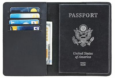 Real Leather Passport Cover Holder RFID Blocking for Men & Women Travel Wallet