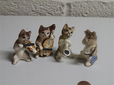 Vintage Four Piece Cat Band Brown Black Striped Cats by Empress JAPAN