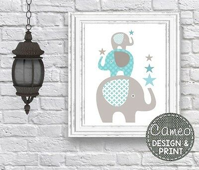 A4 elephant stack blue Nursery Wall Print (2904) baby room art childrens
