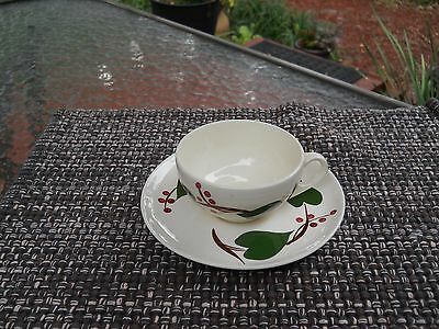 BLUE RIDGE SOUTHERN POTTERIES STANHOME IVY CUP & SAUCER SET of 4