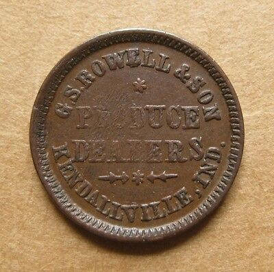 Kendallville Indiana Civil War Token - G.S. Rowell & Son - IN500Q-1a R-5 Scarce