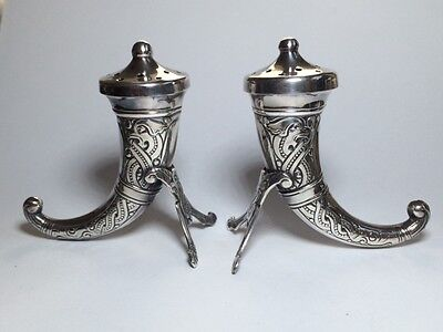 VIKING HORN Norway Sterling Silver pepper pots