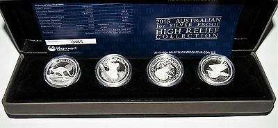 2015-P Australia 1oz Silver Proof High Relief Collection. Four (4) Coin Set.