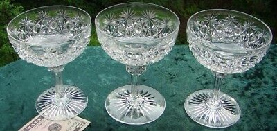 3-- HAWKES 1882 Russian ABP Brilliant Cut Glass Saucer Champagne Stems
