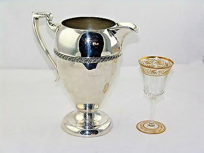 """Art Deco Silver On Copper Footed Wine Water Pitcher Ice Strainer  Gadroon  9.5""""h"""