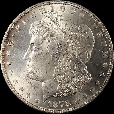 1878 7/8 Tale Feather Weak Morgan Silver Dollar UNC