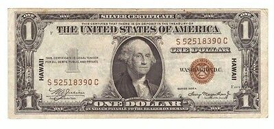1935 A Silver Certificate Emergency Hawaii Brown Seal $1 Currency Note! USC093