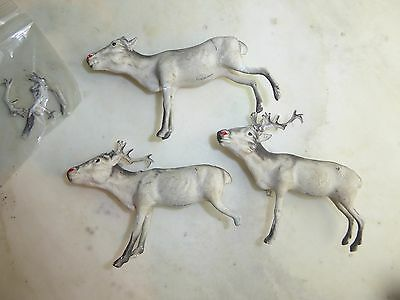 Antique 1920's Vtg Composition German Figures  Reindeer, Xmas Putz