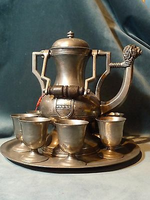 Vintage Pewter Drink Service Set with Large Pitcher 8 Goblets