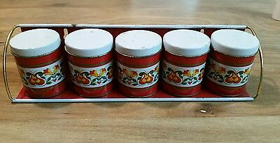 Vintage Tin Spice Rack and 5 Spice Cans made in Brazil