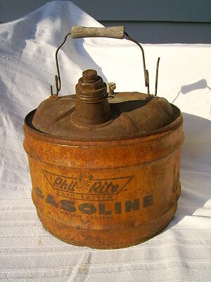 vintage phil rite gasoline metal can 3 gallon gas oil advertising