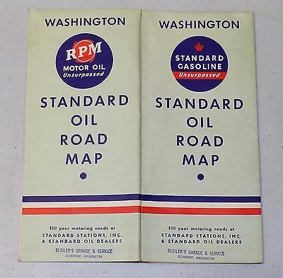 WASHINGTON STATE - STANDARD OIL ROAD MAP travel automobilia advertising 1937