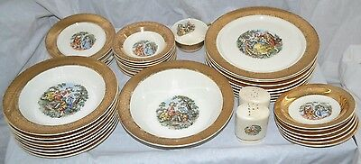 VTG W. S. George Derwood Pattern China w/22K Gold Flash - 42pc/Service for 8,S&P