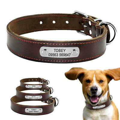 Personalized Leather Dog Collars Pet Name ID Tags Engraved Soft for Dogs S M L