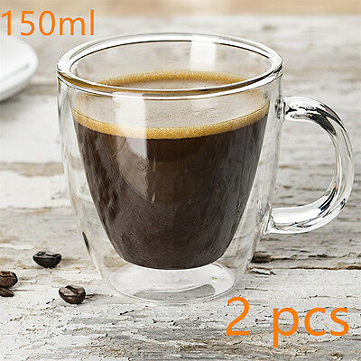2 pcs Double Wall Insulated Espresso Coffee Cups THERMO-GLASS Tea Mugs 150ML