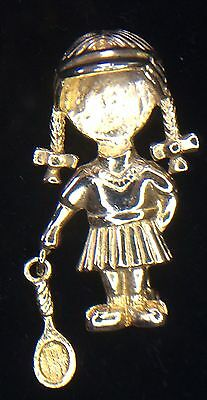 Vintage Marked AAi Gold Tone Girl Tennis Player With Braids Pin Brooch