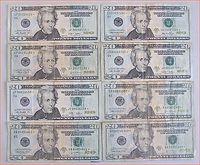 (8) 20 Dollar Bill *STAR NOTES* - FEDERAL RESERVE NOTE, FAST SHIPPING !!!!
