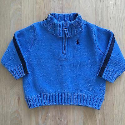 Baby RALPH LAUREN Zip Neck Jumper Aged 9-12 Months 9M Knit Sweatshirt Blue Boy