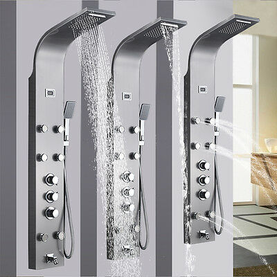Stainless Steel Thermostatic Shower Panel Waterfall Rain Massager Bodys Jets Tap