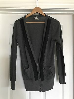Women's Gray Cardigan with Black Lace Size Small