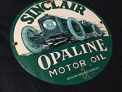 Vintage Sinclair Motor Oil Porcelain Gas Station Pump Plate Automobile Sign
