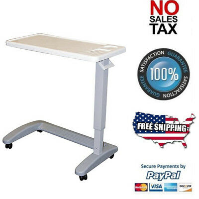 Overbed Hospital Table Bed Adjustable Over Wheelchair Tray Rolling Medical Chair