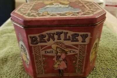 Vintage Tin - Old Fashioned Bentley Doll Co.  Good Fitting Lid - Clean Inside -