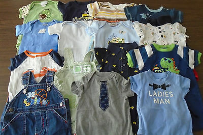 Used 25 Pc. Lot Of Newborn Baby Boy Clothes 0-3 Months Euc