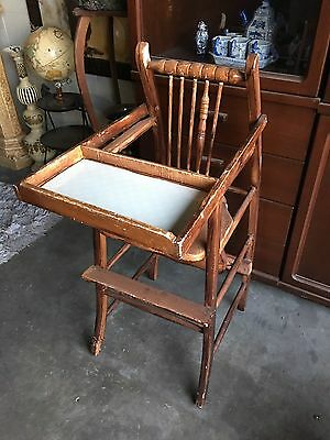 Vintage Wooden Baby High Chair & Rocking Chair