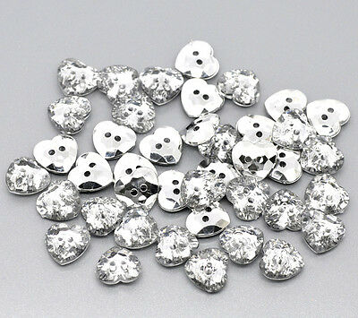 50pcs Acrylic Button Crystal Clear 2 Holes Heart Shape Sewing Scrapbooking Craft