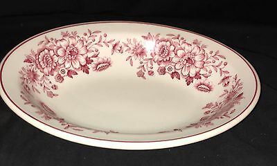 """Carr China RESTAURANT WARE* DAYTON* RED/PINK FLORAL* 10"""" OVAL BOWL*"""
