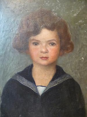 Portrait of a Young Boy in Sailor Suit Oil on Canvas-Impressionism signed