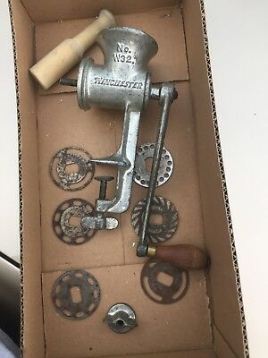 Vintage Winchester Repeating Arms No. W32 Meat Grinder Food Chopper w/ 6 Blades