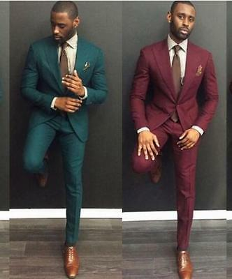 Custom Dark Green/Red Men Wedding Suits Formal Groom Tuxedos Prom Suits 2 Pieces