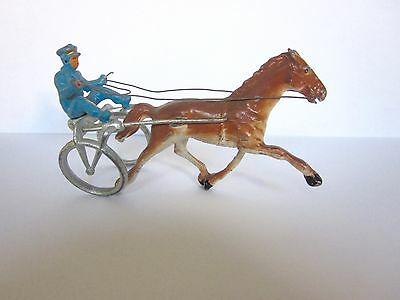 Vintage Manoil Barclay Sulky Horse and Rider on Cart with Harnesses