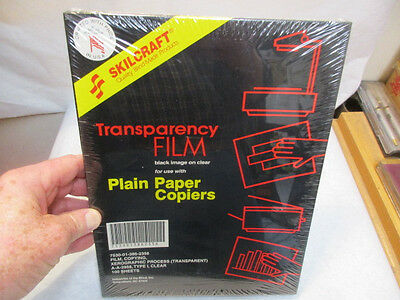 Skilcraft Transparency Film For Plain Paper Copiers 100 Sheets - Sealed - NIB NR