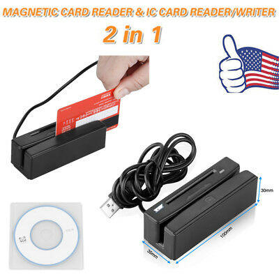 2in1 USB Credit Card Reader/Writer Card 3 Track Magnetic IC Chip Stripe Swipe US