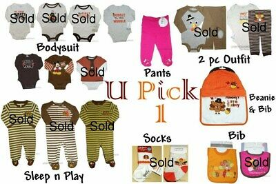 Thanksgiving 1st Outfit Holiday Boys Girls Bodysuit Pants Sleep Play Sock Bib My