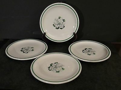 "Syracuse China Whitfield Magnolia Gardenia 4 plates 7.25"" VTG restaurant ware"