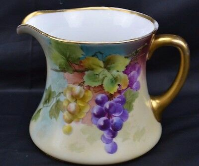 Large Hand Painted Pitcher Raven Mark Grapes Gold Studio Mark